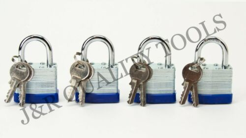 4 PC Pack of Small Laminated Pad Lock 30mm Size Padlock Security Set Keyed Alike