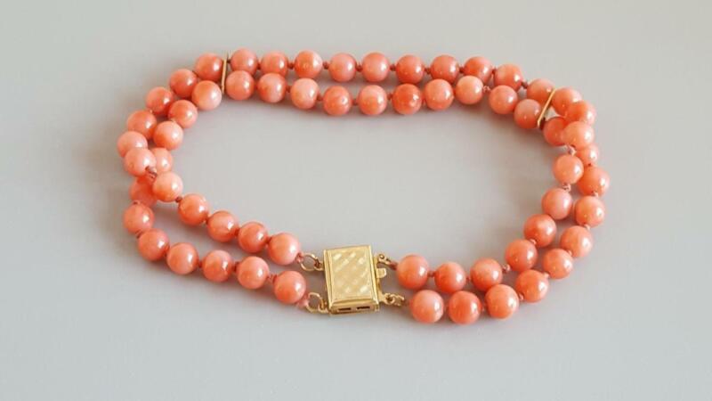 "Vintage 7 1/2"" Bracelet 14K Gold Salmon Mediterranean Coral Beads 2 Strand"