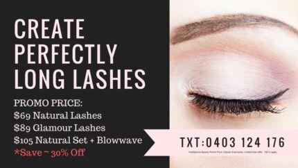 Eyelash extensions - natural classics $69 super promo