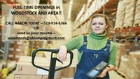 Full Time general labour positions in Woodstock-  519-914-5366