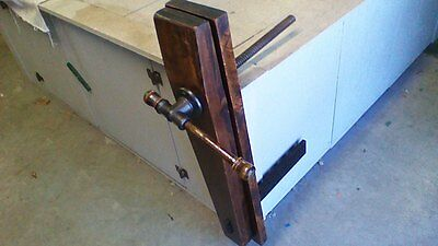 Restored Vintage Antique Wood Bench Vise Screw Clamp Woodworking Tool NICE!