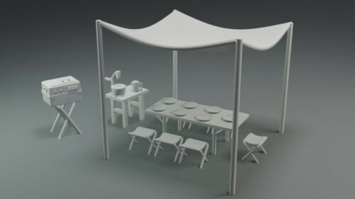 Lost In Space Jupiter 2 Campsite Chairs Canopy 11 Pieces 1:35 Moebius Lunar 3D