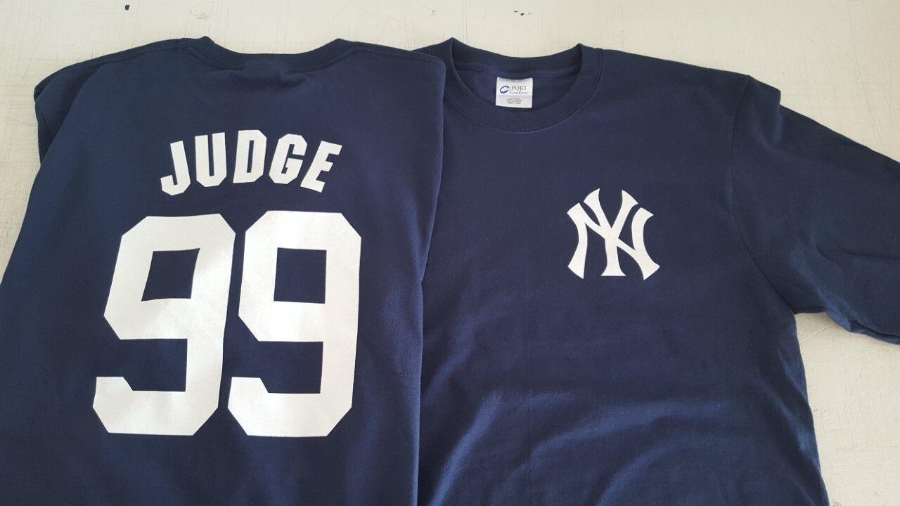 NEW YORK YANKEES AARON JUDGE JERSEY T-SHIRT NAVY BLUE Short/Long Sleeve