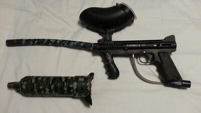 """Tippmann 98 paintball gun w 13"""" downward bent barrel hopper, one tank"""