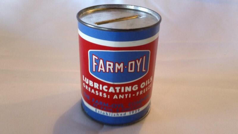 CIRCA 1950S(?) FARM-OYL LUBRICANTS OIL CAN BANK  - FREE SHIPPING