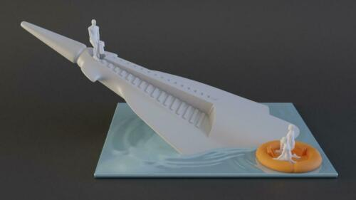 Planet of the Apes Icarus Spaceship Sinking with 3 Figures and Raft - 3D printed
