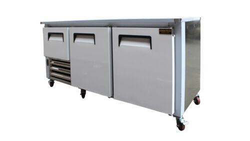 """Cooltech 2-1/2 Door Low Boy Worktop Refrigerator 72"""""""