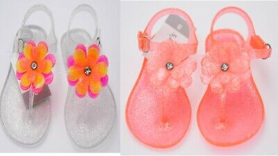 Carter's Toddler Girls Selena Jelly T-Strap Sandals Orange Clear NEW - Toddler T Strap Shoes