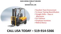 Forklift Drivers Needed - $17.50/hr - CALL 519-914-5366