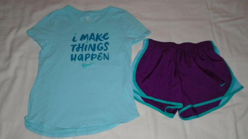 """Girls Nike Outfit Size M Shorts Size L Shirt """"I Make Things Happen"""" Fits 10-12"""