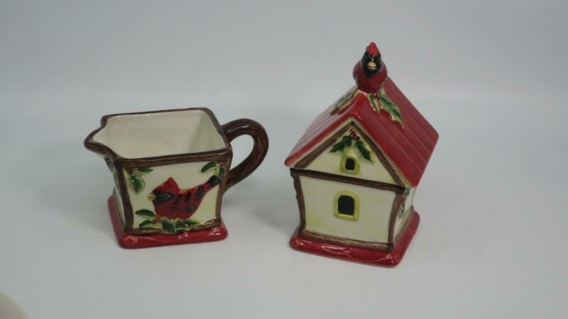 Susan Winget Christmas Cardinals Creamer & Sugar Bowl Certified International