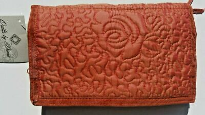 Donna Sharp Rose, Mango Quilted Wallet, Tri Fold with shoulder strap, NEW