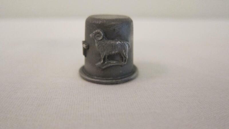 Vintage RR Pewter Sewing Thimble Zodiac Sign Aries Animal Ram