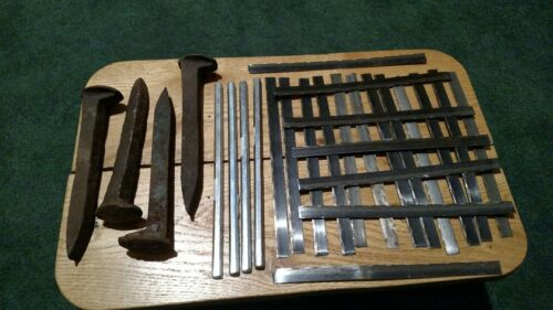 Blacksmith forge steel assortment, Damascus, spike, Hex, saw blades