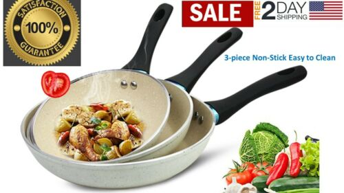 """Non-stick fry pan Set 8"""" 9.5"""" and 10.5"""" marble coated, Induction bottom"""