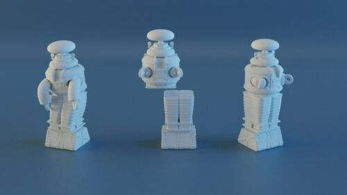 """Lost In Space Robot B9 3 Piece Set 1:24 Scale 3D Printed Lunar Moebius 3"""" Tall"""