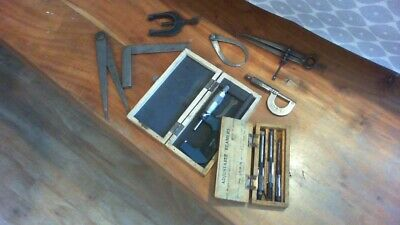 VINTAGE ENGINEERS TOOLS JOB LOT -BROWN & SHARPE LINEAR-MOORE & WRIGHT MICROMETER