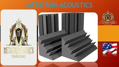 """4 Pack Acoustic Bass Traps Corner Wall Soundproofing Foam 12 X 12 X 24"""" charcol"""