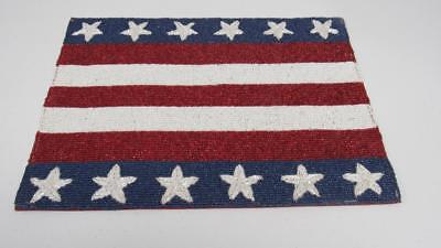 Memorial Day 4th of July Flag Star Patriotic Beaded Placemat Center Piece - 4th Of July Centerpieces