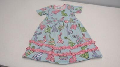 CWD Kids Easter Dress Blue w/Multi Colored Bunny Rabbits SZ 4 OR 5-6 EUC TL52