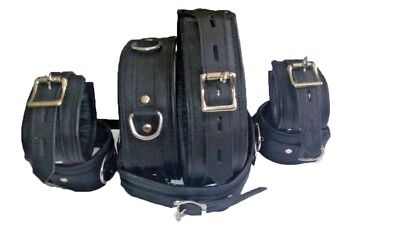 Real Leather Padded Restraint Cuffs Wrist Neck Thighs Ankle Lockable Restraints - Leather Wrist Restraints