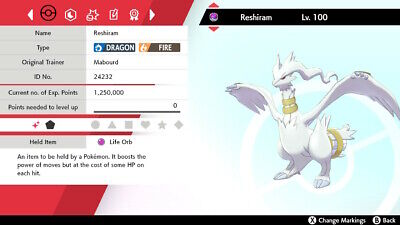 ✨Shiny Reshiram✨ Legendary Pokemon *BATTLE READY* - Pokemon Shield and Sword