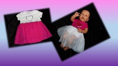 Kleid Body Baby Sommerkleid Festkleid Tütü pink weiß Herz 56 62 68 74 (Weiße Baby-sommer-kleid)