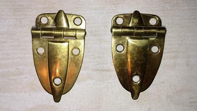(Vintage Polished Brass Cabinet Flush Hinge Art Deco  3/8