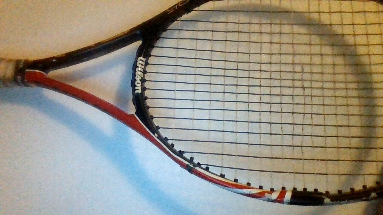 Wilson Six One 95 BLX Tennis Racquet- Red/black/white Handle- One String Off-  - $20.00