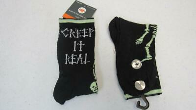 Halloween Ladies Crew Socks Black w/Skeletons Creep it Real One Size NEW