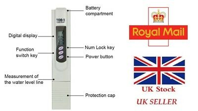 Digital TDS-3 Meter Water Quality Purity  PPM Tester + 2 FREE BATTERY' UK SELLER