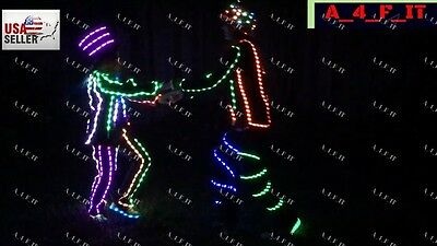 Halloween Edm Parties (LED (electroluminescent ) Robot Costume Night Clubs Parties Rave EDM)