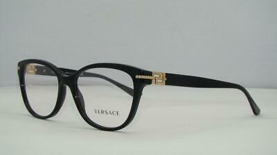 Versace 3205 B GB1 Black & Gold Brille Glasses Eyeglasses Frames Size 54