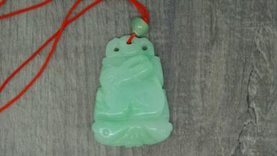 Beautiful Carved Lucky Chinese Zodiac Rabbit Natural Jade Jadeite Pendant (zn336