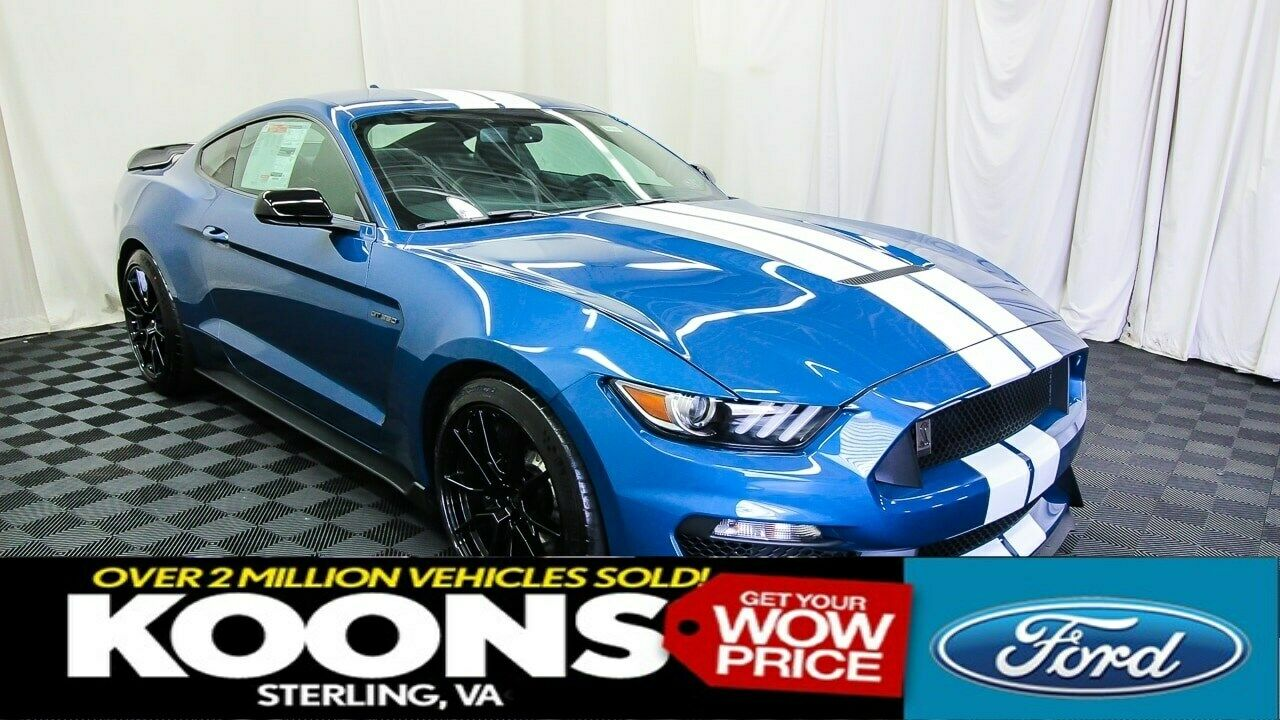 PERFORMANCE BLUE SHELBY GT350, WHITE STRIPES, HEATED/COOLED LEATHER, CAR COVER