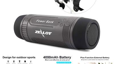 Bluetooth Bicycle Speaker Zealot S1 4000mAh Power Bank Water