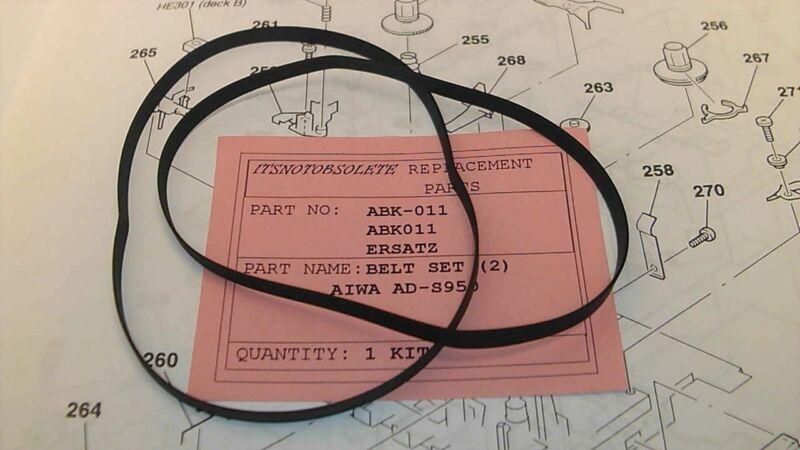 AIWA ADS950/AD-S950 BELT SET(ABK011) 2 FLAT BELTS A+B