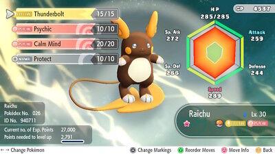 Pokemon Let's Go Pikachu & Eevee - Shiny Alolan Raichu 6iv