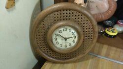 Vintage New Haven Quartz Wicker Wall Clock,12,works great,vg!