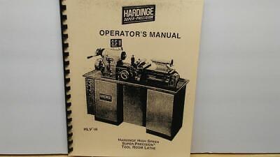 Hardinge Hlv-h Tool Room Lathe Operators Manual