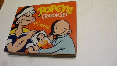 VINTAGE KING FEATURES SYNDICATE POPEYE CRAYON SET TIN BOX NO.1436 WITH CRAYONS