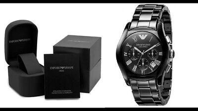 Emporio Armani AR1400 Black Ceramic Chronograph Mens (1400 Ceramic)