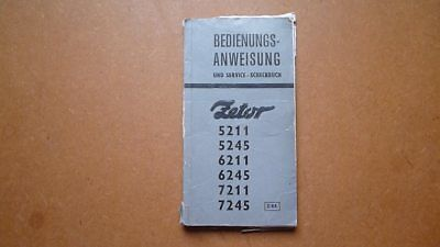 Zetor Tractor 521152456211624572117245 Original Operating Instructions