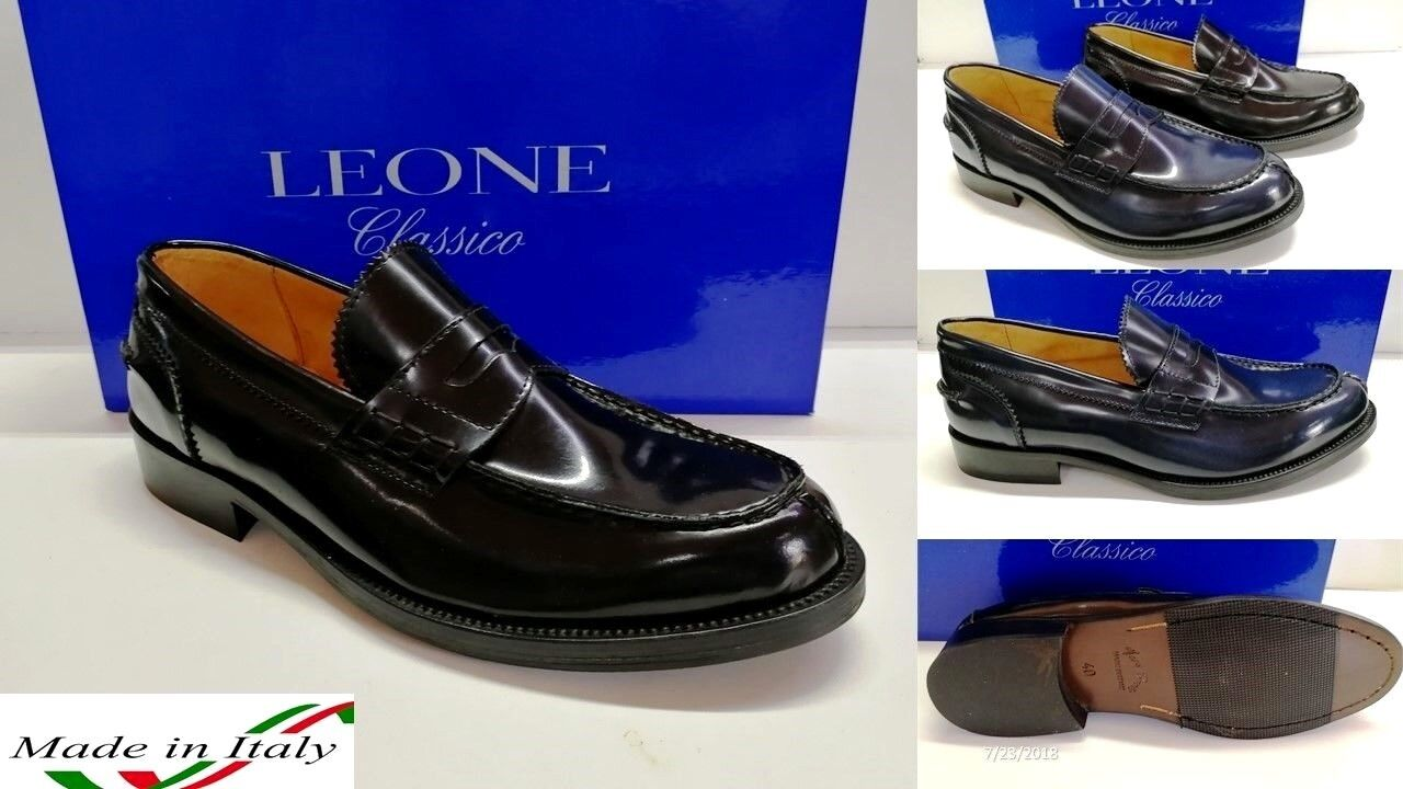 mocassino college uomo trendy made in italy 100%vera pelle blu e nera dal 39al46