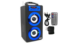 Portable Rechargeable Blue Tower Bluetooth Boombox Speaker System USB/SD/AUX/MP3