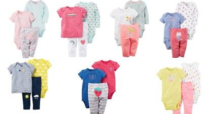 New Carters Baby Girls 3 Pc Cotton Bodysuits and Pant Set [Choose Color & Size]