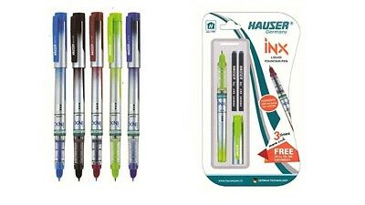 5x Hauser INX Liquid Fountain Pen | Round Nib | Refill-able | Blue Ink | Stylish