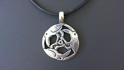 Odin's Ravens Pewter Pendant Necklace! New Made in USA Viking Thor Valknut Norse