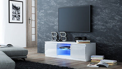 "Modern TV Unit, TV Cabinet 120cm white gloss with Blue LED lights for 55"" TV's"