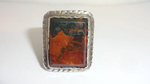Vintage Southwestern Mahogany Jasper Sterling Silver Ring Size 7.5